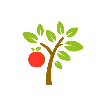 crone: Vector apple fruit tree isolated on white background. Illustration