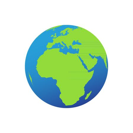 realist: Globe icon with smooth vector shadows and green map of the continents of the world