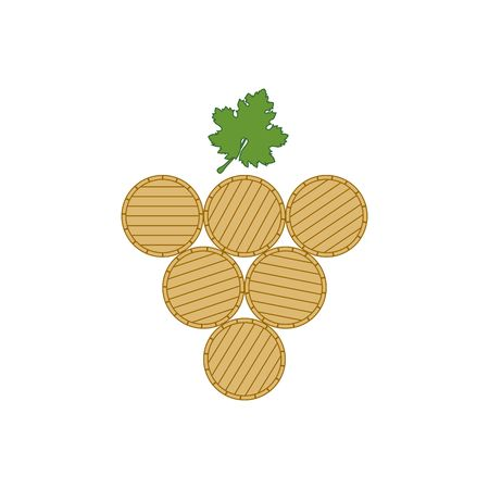 raceme: Stylized wine leaf and barrels isolated on the white background.