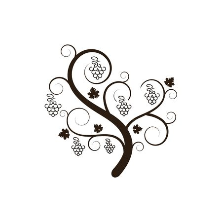 Stylized grape tree silhouette vector illustration isolated on the white background.