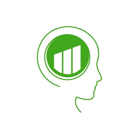 environmental awareness: Abstract human profile. Brain with structure of stylized symbol. The concept of love to nature, environmental awareness, alternative lifestyle, healthy life, thinking green. Vector illustration.