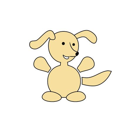 wagging: Cartoon happy dog vector illustration isolated on the white background.