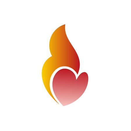 burning heart: Burning heart vector illustration symbol of love for Valentine Day isolated on the white background.