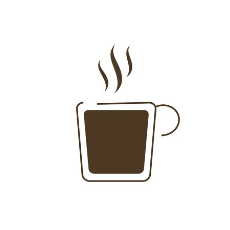 glassful: Hot drink cup icon vector illustration isolated on the white background.