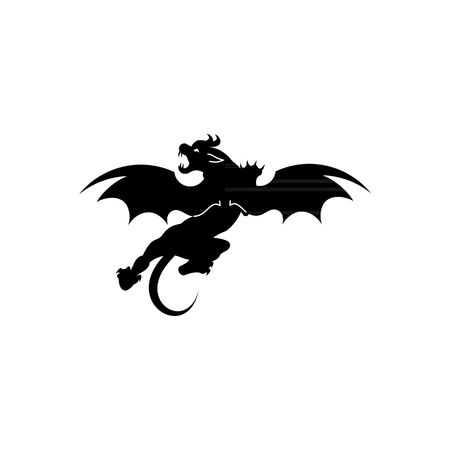 misfortune: Jersey Devil silhouette tattoo vector illustration isolated on white background. Illustration