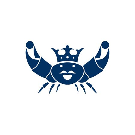 perl: Blue king crab with crown and mustache holding perl silhouette vector illustration isolated on white background. Illustration