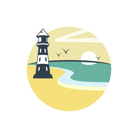 lake shore: Lighthouse and beach on summer day vector illustration isolated on white background.