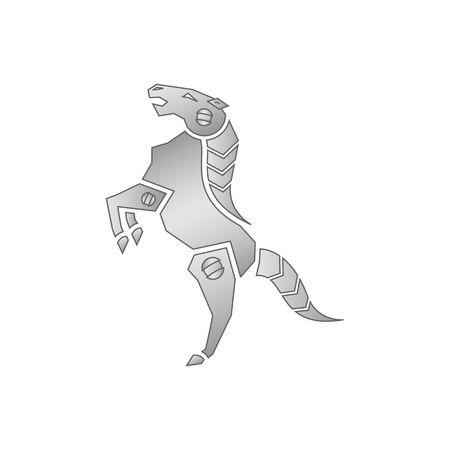 steed: Robot steed iron mechanical horse standing on two legs vector illustration osilated on white background. Illustration
