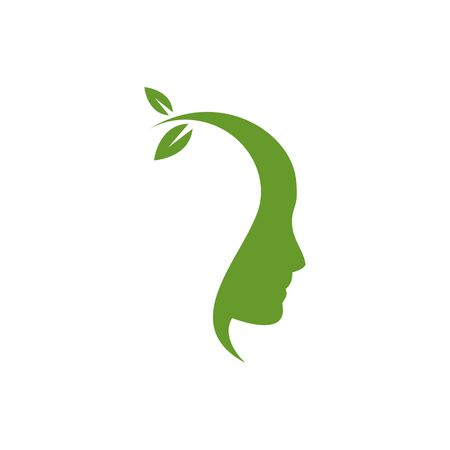 acquaintance: Think green ecological head with leave growing from head silhouette illustration isolated on white background.