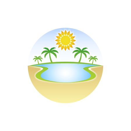 desert oasis: Oasis in the desert with water palm tree and sun illustration isolated on white background.