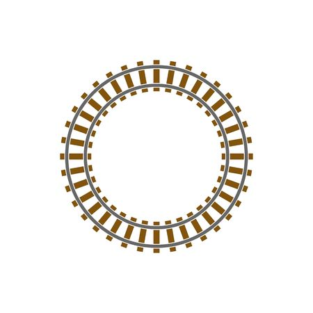 Circle train railway track illustration isolated on white background.