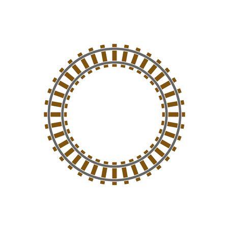 train Cercle voie ferrée illustration isolé sur fond blanc.