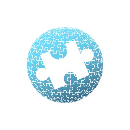 globe puzzle: Blue puzzle globe with one big white puzzle in the middle illustration isolated on white background.