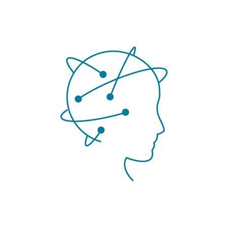 la scienza dei dati e il concetto di comunicazione con la testa scienziato contro il flusso di informazioni vettoriali illustrazione isolato su sfondo bianco.