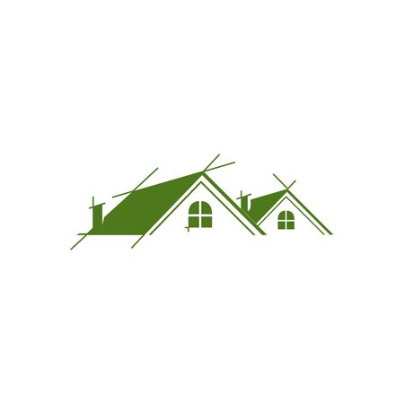 building lot: Real estate green house vector illustration isolated on white background.