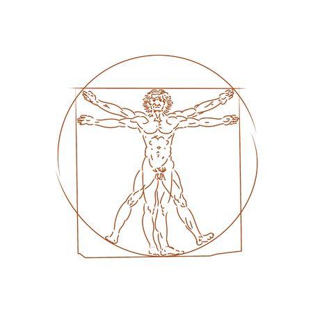 uomo vitruviano: L'uomo vitruviano dettagliato disegno sulla base di disegni di Leonardo da Vinci (eseguita circa nel 1490) da antico manoscritto del maestro romano Marco Vitruvio Pollione illustrazione vettoriale isolato su sfondo bianco.