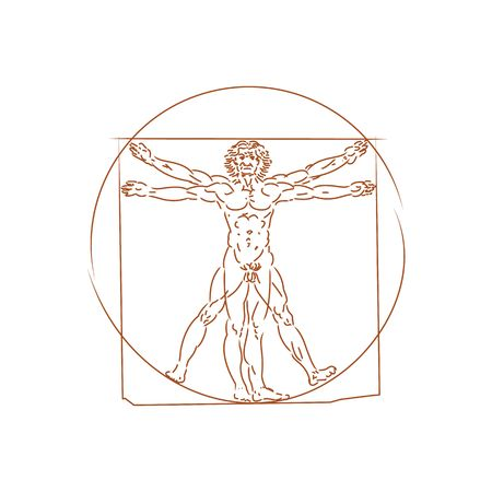 The Vitruvian man detailed drawing on the basis of artwork by Leonardo da Vinci (executed circa in 1490) by ancient manuscript of Roman master Marcus Vitruvius Pollio vector illustration isolated on white background.