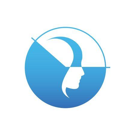 peruke: Beautiful stylized sleeping head with blue clock vewctor illustration isolated on white background.