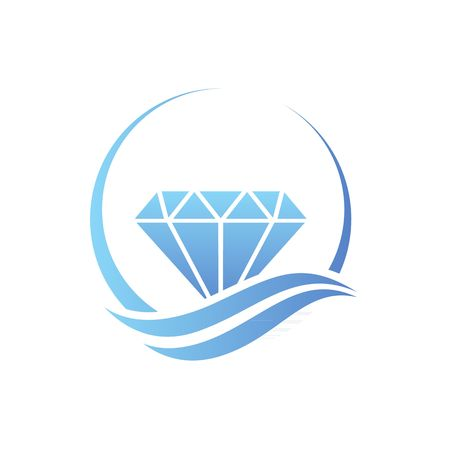 Beautiful treasure bay stylized blue diamond vector illustration isolated on white background.