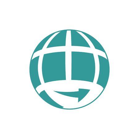 wrapped around: Translation agency globe logo vector illustration isolated on white background. Illustration