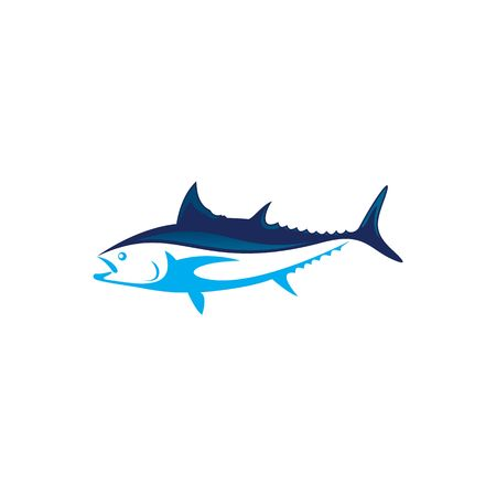 Beautiful blue tuna fish vector illustration isolated on white background. 矢量图像