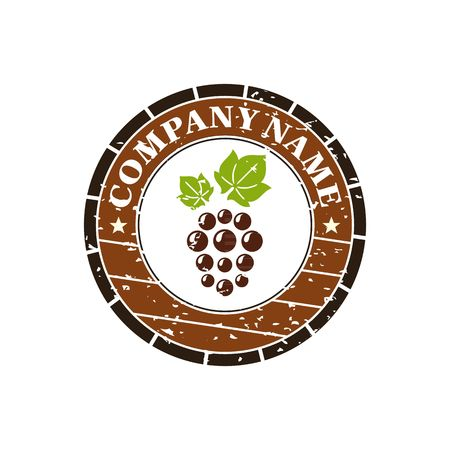 hogshead: Wine barrel with grape label vector illustration isolated on white background.