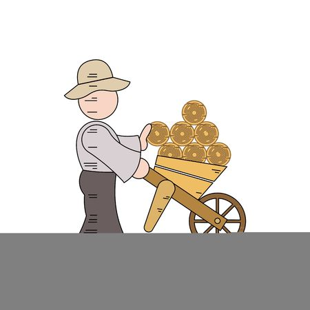 splitting: Cartoon character of a woodcutter carrying logs vector illustration isolated on white background.
