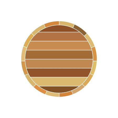 19th century style: Wooden wine brown barrel profile vector illustration isolated on white background.