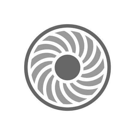 Jet motor de turbina de palas de la ilustración del vector aislado en el fondo blanco. Ilustración de vector