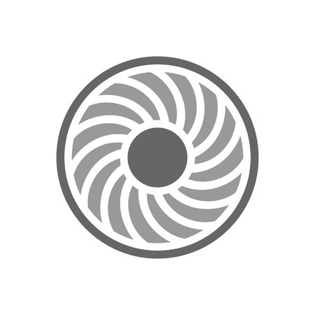 Jet engine turbine blades vector illustration isolated on white background. Illustration