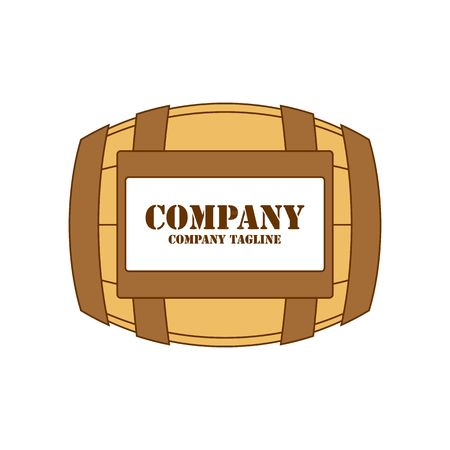 midsection: Brown wine barrel with label vector illustration isolated on white background. Illustration