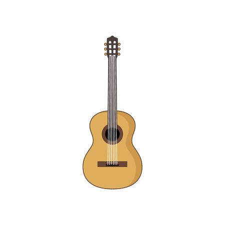 single color image: Wooden acoustic guitar vector illustration isolated on white background.