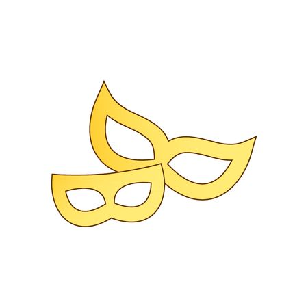 period costume: Costume ball two yellow masks vector illustration isolated on white background. Illustration