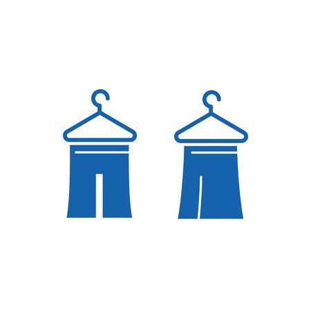 donation drive: Blue T-Shirts clothing drawing with hanger vector illustration isolated on white background. Illustration