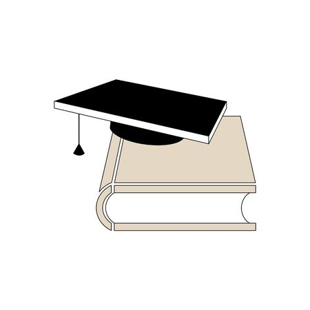 personal accessory: 3D book with teacher black student hat vector illustration isolated on white background.