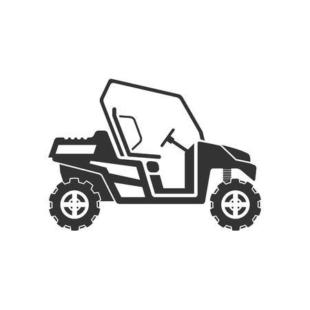 sand dune: Dune buggy or desert car icon vector illustration isolated on white background.
