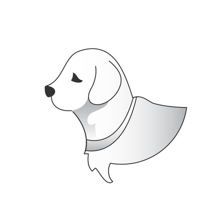 animal nose: Beautiful and cute dog head profile vector illustration isolated on white background.