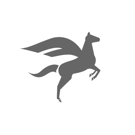 steed: Flying horse with wings silhouette icon vector illustration isolated on white background.