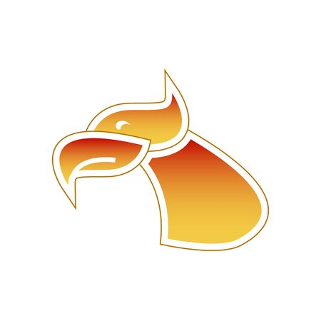 abstractly: Stylized firebird or eagle head vector illustration isolated on white background.