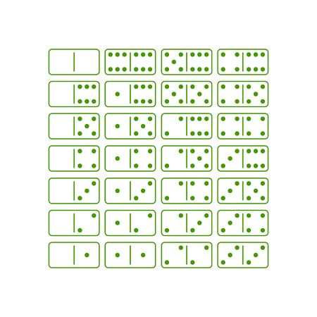 dominoes: Green dominoes game icon set vector illustration isolated on white background. Illustration