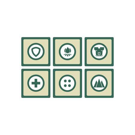 Safety icon set vector illustration isolated on white background.