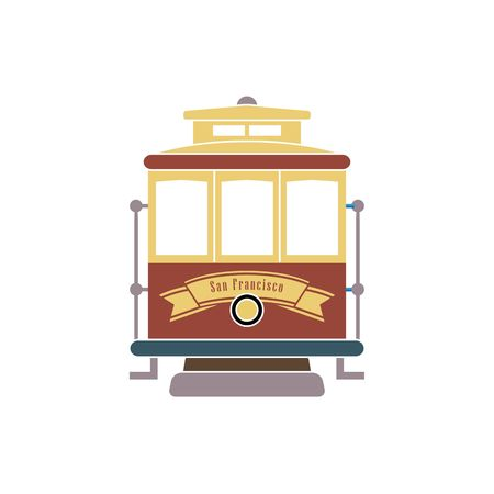 San Francisco streetcar tramway vector illustration isolated on white background. Vettoriali