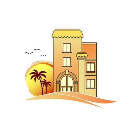 for rental: Real estate apertments for rent with palm tree and birds on landscape vector illustration isolated in white background.