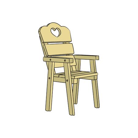 wooden chair: 3d wooden chair with heart vector illustration isolated on white background. Illustration