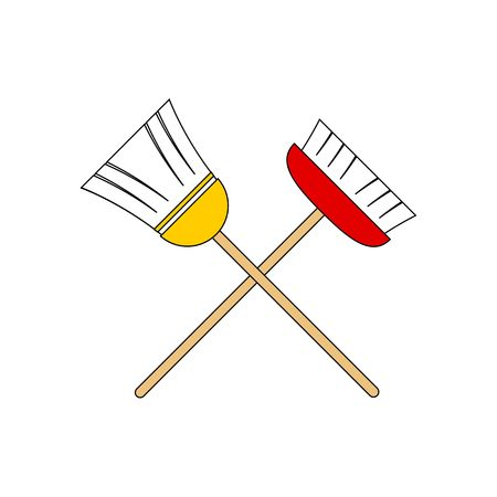 Two red and yellow brooms vector illustration isolated on white background. Illusztráció