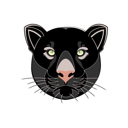dominant: Beautiful black panther head silhouette vector illustration  isolated on white background.