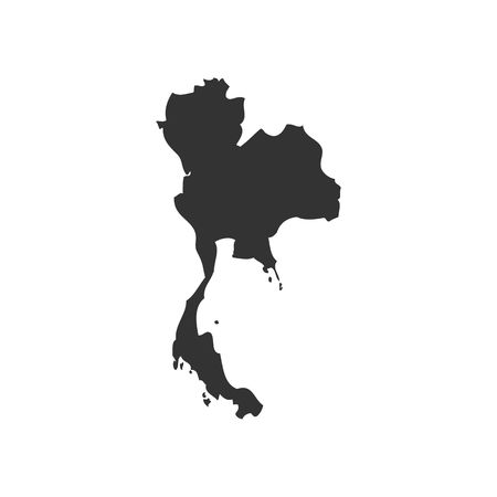 slhouette: Thailand map slhouette vector illustration isolated on white backgorund.