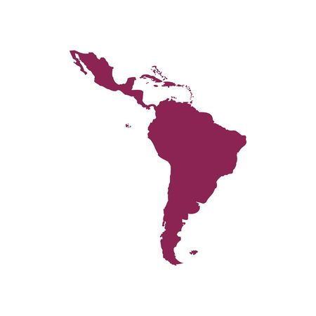 Purple Latin America map silhouette vector illustration isolated on white backgorund.