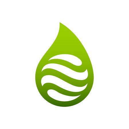Zusammenfassung grünen Wassertropfen oder Wasser-Reinigungs-Logo Vektor-Illustration auf weißem Hintergrund. Logo