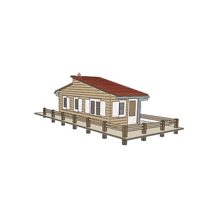 dwelling: Beautiful 3D pile dwelling vector illustration isolated on white background.